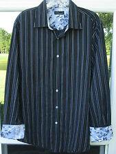 7 Diamonds Long Sleeve 100% Cotton Flip Cuffs Blue White Striped Casual Shirt XL