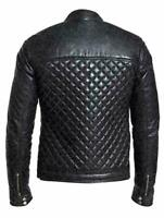 #01 New Design Quilted Black Men's For Fashion Cafe Racer Genuine Leather Jacket