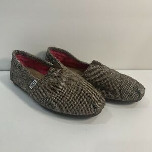 TOMS Flats Shoes Slip On Brown, White, Gold Tweed Women's 7