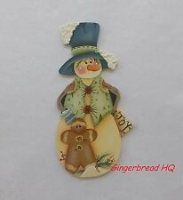 HP Snowman and gingerbread wooden christmas  ornament,  handpainted, candycanes