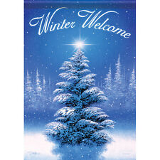 """New listing Winter Welcome House Flag 28"""" x 40"""" Double sided Tree"""