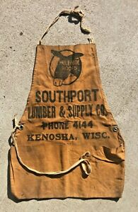 Vintage Carpenters Advertising Nail Apron Mule Hide Work Wear Kenosha Wisconsin