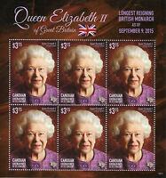 Canouan Gren St Vincent Stamps 2015 MNH Queen Elizabeth II Long Reign 6v MS II