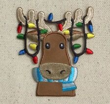 Christmas Moose - Face/Head Lights/Antlers - Iron on Applique/Embroidered Patch