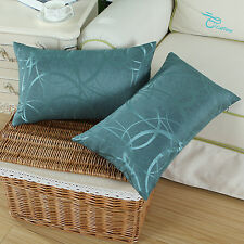 Set of 2 Cushion Covers Pillow Cases Reversible Striped Circle 12 X 20 Teal