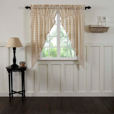 Annie Buffalo Check Tan Cotton Country Cottage Window Prairie Curtains