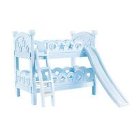"""9-11"""" Reborn Doll Furniture Bedroom Toy Bunk Bed with Ladder Slide Blue"""