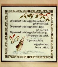 Vtg Count Cross Stitch Kit Fishing Happy Forever Learn Poem Trout Fly Stitchery
