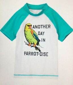 NWT Gymboree Boys Another Day In Parrot-Dise Rash Guard Swim Shirt Size 4 & 5