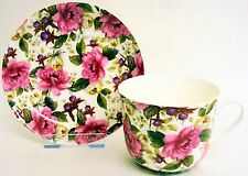 Camellia Large Cup & Saucer Bone China Flowers Breakfast Set Hand Decorated UK