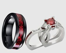 Plated bridal engagement wedding ring set His Tungsten and Her Red Cz Silver