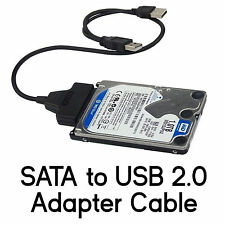 "SATA to USB 2.0 Adapter Cable for 2.5"" Hard Drive HDD Laptop Data Recovery PC"