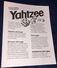 YAHTZEE Instruction Book Replacement Pieces for Milton Bradley YAHTZEE 1998