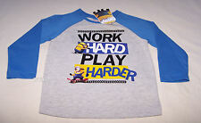 Despicable Me Boys Work Hard Grey Blue Printed Long Sleeve T Shirt Size 3 New