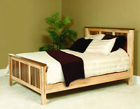 Amish Handcrafted Panel Bed Solid Wood 2-Tone Maple and Walnut Queen King USA