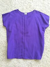 Vtg Womens blouse short sleeve pullover purple violet R & J made in the USA
