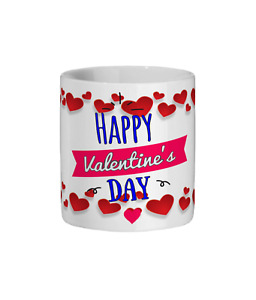 Happy Valentines Day Mug - With a border of hearts around text