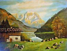 SCHMID (19.20.) - schickes antik Alpen-Gemälde: SEE IM SALZKAMMERGUT /Österreich