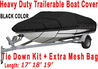 Crownline 196 Bowrider Boat Trailerable Cover Black Color All Weather