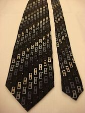Kilburne and Finch Men's Silk Neck Tie - Navy Blue with Multi-color rectangles