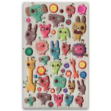 ✰ CUTE DANCHU DOLL STICKERS Button Eye Animal Craft Scrapbook Raised Sticker Set