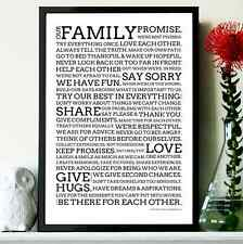 Family Promise Poster - Motivational Quote Print Art Quotation Picture Valentine