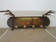 Golfing Motif, Wood & Metal, Hat & Coat Rack