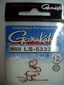 Gamakatsu LS-5333R, rot, Gr. 12, 8 Stück lose Haken mit Öse