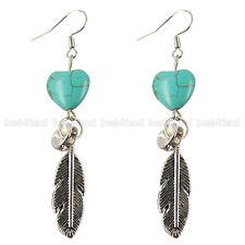 Tibetan Silver Blue Heart Turquoise Feather Dangle Hoop Earrings Women Lady Gift