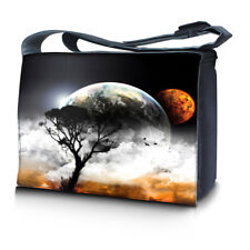 """15.6"""" 15"""" Laptop Notebook Padded Compartment Shoulder Messenger Earth Moon 15N03"""