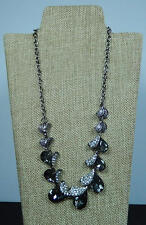 FASHION NECKLACE SILVER COLOR CHAIN GREY- CLEAR CRYSTALS MATCHING EARRINGS