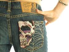 CHRISTIAN AUDIGIER Indiana Luxury Designer Womens Decorative Bootcut Skull Jeans