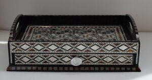 Egyptian Wood Decorative Tea or Coffee Tray, Storage Organiser Wood Serving Tray