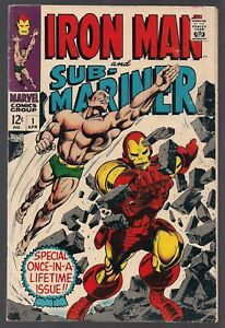 IRON MAN AND SUB-MARINER #1 MARVEL 1968 SPECIAL PREDATE #1 LAUNCH ISSUE VG/FN