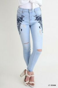 Umgee Floral Embroidered Distressed Stretch Skinny Denim Blue Jeans Size 26""