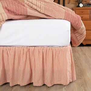 VHC Brands Farmhouse Twin Ticking Stripe Bed Skirt Red Gathered Bedroom Decor