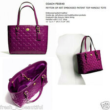 Authentic Coach 50540 Passion Berry Peyton OP Art Embossed Patent Mini Tote Bag