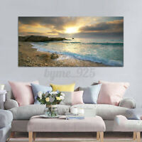 Beach Canvas Prints Ocean Wave Sunset Sea Painting Art Wall Home Decor No fram
