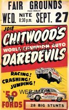 1951 CHITWOOD'S AUTO RACING JUMPING DAREDEVILS 11X17 POSTER AUTOMOBILIA FORD CAR
