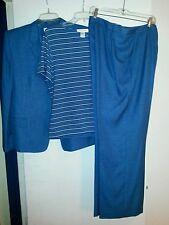 Judith Hart Women Three Piece Jacket Shirt Pants Blue Size 16