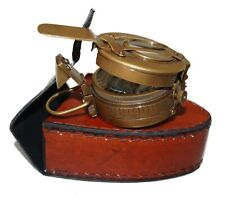 Antique brass military compass marine maritime with leather box case gift item