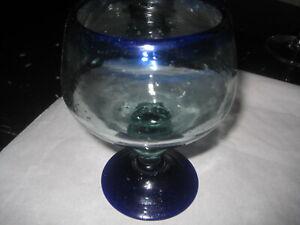 Art Glass - Bubble Glass Look, Cobalt Blue Rim and Base - 15 cm Wide