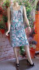 NWOT JACQUI-E Pop On Jade/White Stretch Shift Dress Size XL Sleeveless Lined