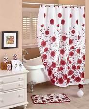 Elegant Floral Poppy Fields Shower Curtain Hooks Rug Spring Blooms Bath Set