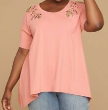 Lane Bryant Plus Coral Floral Embroidered Swing Blouse Top Tunic Size 18/20