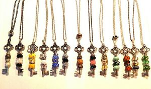 NWT HANDCRAFTED BEADED KEY PENDANT NECKLACE-YELLOW, GREEN, BLUE, BLACK, PINK