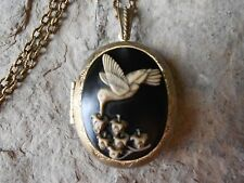 HAND PAINTED HUMMINGBIRD CAMEO LOCKET NECKLACE - BLACK -ANTIQUED BRONZE, QUALITY