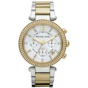 MICHAEL KORS PARKER GOLD SILVER CRYSTAL CHRONOGRAPH DATE WOMENS WATCH MK5626