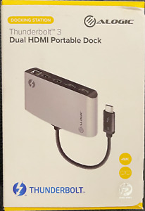 ALOGIC ThunderBolt 3 Dual HDMI Portable Docking Station with 4K - Space Grey