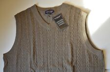 Roundtree & Yorke Tall Men's Vest Pullover Taupe Sleeveless knit Wool Cotton LT
